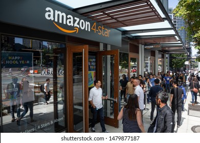 """Seattle, Washington / USA - August 15 2019: Entrance to the """"Amazon 4-Star"""" store at the company headquarters on opening day"""