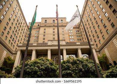 Seattle, Washington / USA - August 16th 2018: Fairmont Olympic Hotel - Luxury Hotel Downtown Seattle - First opened in 1924