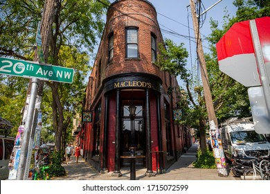 Seattle, Washington / USA - August 18th 2018: a shot of MacLeod's Scottish Pub located in an old heritage brick building in the historic Ballard neighborhood of Seattle