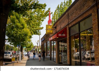 Seattle, Washington / USA - August 18th 2018: a shot of the iconic Sonic Boom Records located in the hip Ballard neighborhood District of Seattle