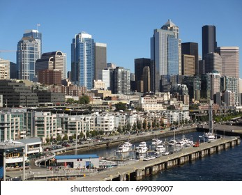 Seattle, Washington, USA - August 2012: The marina, showing waterfront apartments and the city in the background