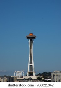 Seattle, Washington, USA - August 2012: The Space Needle against the blue sky of a summer's day