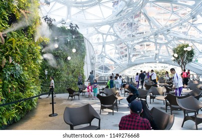 Seattle, Washington, USA - August 4, 2018 The Amazon Spheres are open for public tours.