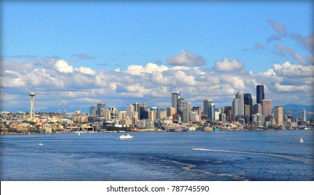 Seattle, Washington, U.S.A - August 4, 2012 - The aerial view of the city of Seattle