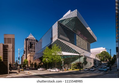 Seattle, Washington, USA - August 5, 2017: Public Library in Seattle. The Central Library was designed by Rem Koolhaas and Joshua Prince-Ramus and was opened during celebration in 2004.