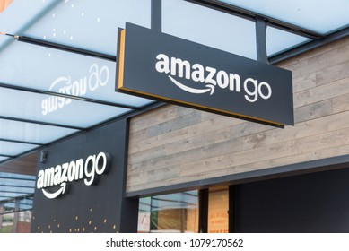 Seattle, Washington USA circa April 2018 The exterior of Amazon companies new store on their world headquarters campus signs above entrance.