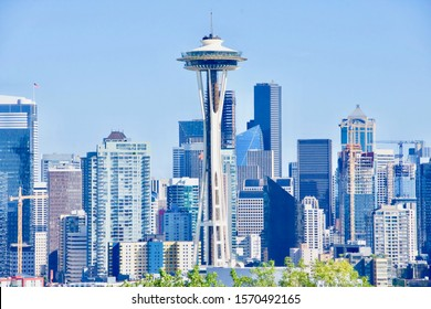 SEATTLE, WASHINGTON / USA - circa July 2019: Captured against a clear blue sky, the towering Space Needle defines the Seattle skyline.