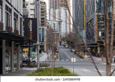 Seattle, Washington USA - Dec 2, 2019: Amazon 4-Star Store on Lenora and Westlake Downtown