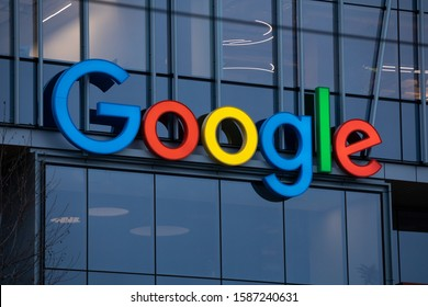 Seattle, Washington / USA - December 10 2019: Google logo on the offices of the cloud computing and artificial intelligence company