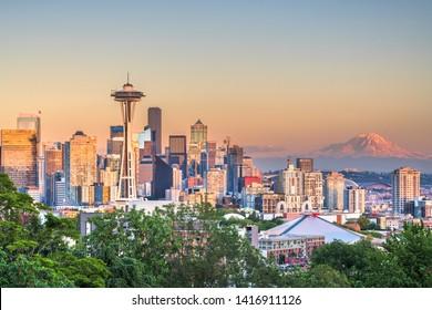 Seattle, Washington, USA downtown city skyline at dusk.