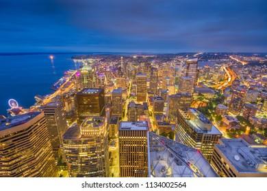 Seattle, Washington, USA downtown skyline at night.