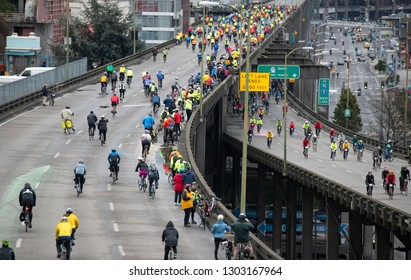 Seattle, Washington / USA - February 2 2019: Farewell Viaduct Bike Ride on Both Levels along the Seattle Waterfront, last day before demolition begins.