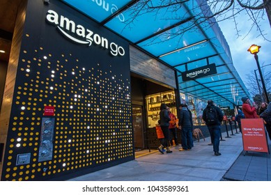 Seattle, Washington, USA - February 21, 2018  Amazon Go grocery store that requires no check out and no lines opened this first store in 2018 near th e Amazon campus