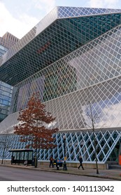 SEATTLE, WASHINGTON, USA- FEBRUARY 28, 2017. The Seattle Central Library building exterior in downtown Seattle