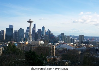SEATTLE, WASHINGTON, USA - JAN 24th, 2017: Seattle skyline panorama seen from Kerry Park during the day light with Mount Rainier in the background. Seattle is the largest city in both the State of