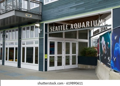 SEATTLE, WASHINGTON, USA - JAN 25th, 2017: Main entrance of the Seattle Aquarium at the waterfront
