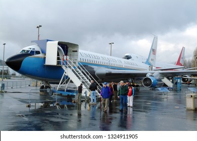 Seattle, Washington / USA - January 12, 2008: A Boeing 707 that was used as Air Force One until 1962 now on display at Seattle's Museum of Flight.