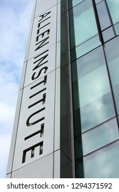 Seattle, Washington / USA - January 21 2019: Low wide angle view on the Allen Institute sign, on the Bioscience research center funded by the billionaire, Paul Allen, with space for text on the right