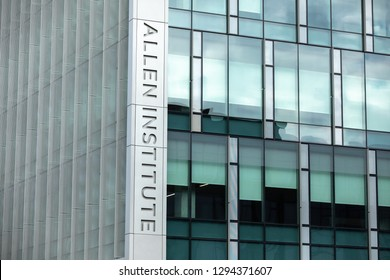 Seattle, Washington / USA - January 21 2019: Sign on the Allen Institute, a Bioscience research center funded by the billionaire and philanthropist, Paul Allen, with space for text on the right