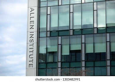 Seattle, Washington / USA - January 21 2019: Allen Institute sign on the Bioscience research center funded by the billionaire and philanthropist, Paul Allen, with space for text on the right