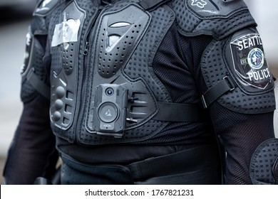 Seattle, Washington / USA - July 1 2020: Body camera on a Seattle Police officer while clearing the Capitol Hill Occupation Protest (CHOP)