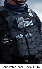 Seattle, Washington / USA - July 1 2020: Body camera on a Seattle Police office, with a Thin Blue Line Patch