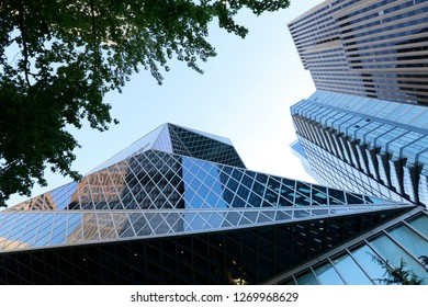Seattle, Washington, USA - July 21, 2018 -  Public Library in Seattle. The Central Library was designed by Rem Koolhaas and Joshua Prince-Ramus and was opened during celebration in 2004.