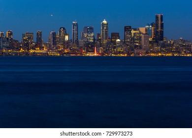 Seattle, Washington, USA - July 2,2017 : Seattle skyline overlooking the Pacific Ocean from Seacrest Park, West Seattle, Washington, USA.