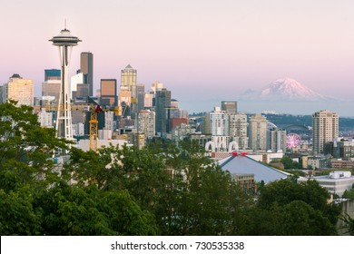 Seattle, Washington, USA - July 2,2017 : Seattle skyline with Mount Rainier in the background as seen from Kerry park viewpoint, Seattle, Washington, USA.