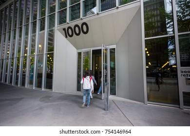 Seattle, Washington, USA - July 2,2017 :Entrance view of Seattle Public Library, Seattle, Washington, USA