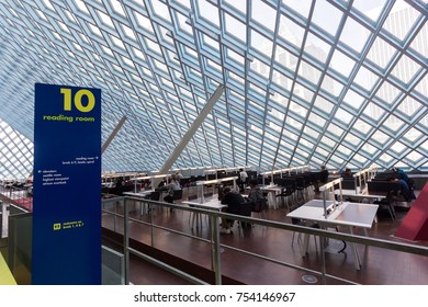 Seattle, Washington, USA - July 2,2017 :Interior view of Seattle Public Library, Seattle, Washington, USA