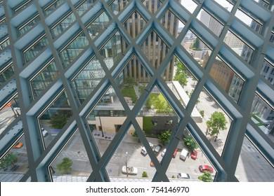 Seattle, Washington, USA - July 2,2017 :Window top view overlooking the road outside of Seattle Public Library, Washington, USA