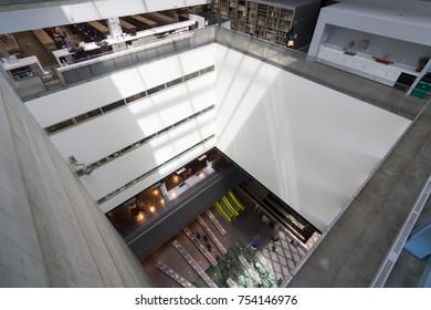 Seattle, Washington, USA - July 2,2017 :Interior top view of Seattle Public Library, Seattle, Washington, USA