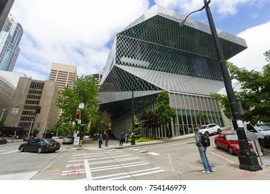 Seattle, Washington, USA - July 2,2017 :Exterior view of Seattle Public Library, Seattle, Washington, USA