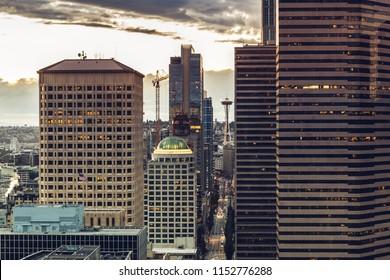 Seattle, Washington, USA - July 6, 2018: View on Space Needle from the Smith Tower, Seattle, Washington state, USA