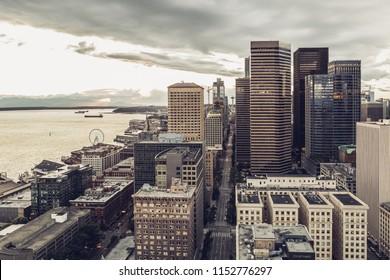 Seattle, Washington, USA - July 6, 2018: View on Seattle downtown from the Smith Tower, Seattle, Washington state, USA