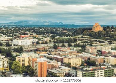Seattle, Washington, USA - July 6, 2018: View on Seattle from the Smith Tower, Seattle, Washington state, USA