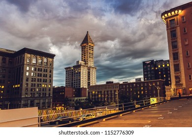 Seattle, Washington, USA - July 6, 2018: - Smith Tower, the oldest skyscraper in Seattle city, built in 1914, Seattle, Washington state, USA