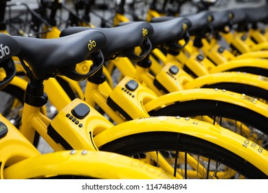 Seattle, Washington / USA - June 16 2018: Row of Ofo rental bikes, part of an app based bicycle sharing network