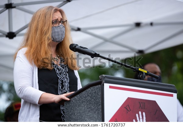 Seattle, Washington / USA - June 19 2020:  Seattle City Council Member, Lisa Herbold, speaking at a public event during the covid-19 pandemic