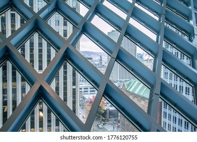 SEATTLE, WASHINGTON / USA - JUNE 4, 2019: Seattle Public Library During the Day