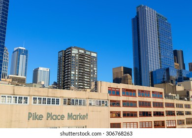 Seattle, Washington, USA - March 1, 2015_Public Market Center. The place is an old continually operated public farmers' markets in the United States.
