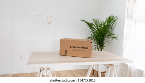 Seattle, Washington / USA - March 22 2019: Amazon's Prime Wardrobe Box with Delivery of Items to Try on Without Paying First.