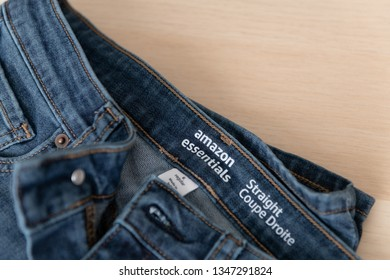 Seattle, Washington / USA - March 22 2019: Jeans by One of Amazon's Own Brands of Casual Wear, Amazon Essentials.