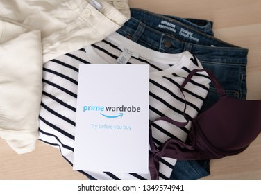 Seattle, Washington / USA - March 22 2019: Amazon's Prime Wardrobe Delivery  of Various Items to Try on Without Paying First.