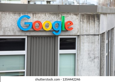 Seattle, Washington / USA - March 27 2019: Google sign on the side of the Alphabet offices in Seattle's Fremont neighborhood, with space for text on the bottom