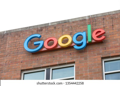 Seattle, Washington / USA - March 27 2019: Google sign on the Alphabet office building in Seattle's Fremont neighborhood
