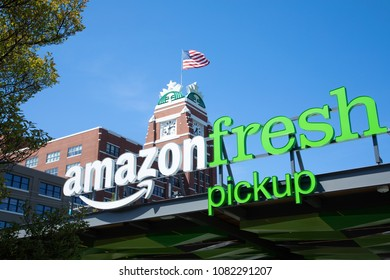 Seattle, Washington/ USA - May 2, 2018: Amazon Fresh Pick Up, an online order and in store pickup service, at Starbucks downtown headquarters