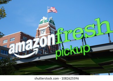 Seattle, Washington/ USA - May 2, 2018: Amazon Fresh Pick Up, an online order and in store pickup service, at Starbucks downtown headquarters, with space for text on top
