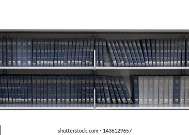 Seattle, Washington / USA - May 7 2019: Row of reference books along a white wall, at the Seattle Public Library, with space for text on top and bottom
